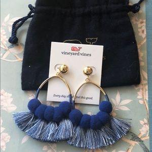 Vineyard Vines Pom Pom and tassel post earrings